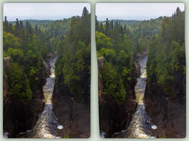 Aguasabon Falls and Gorge 3-D / CrossView / Stereo by zour