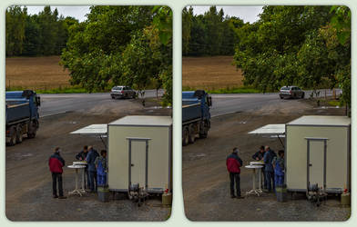 German truck stop 3-D / CrossView / Stereoscopy by zour