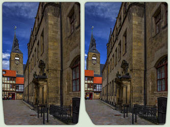 Quedlinburg town hall 3-D / CrossView Stereoscopy by zour