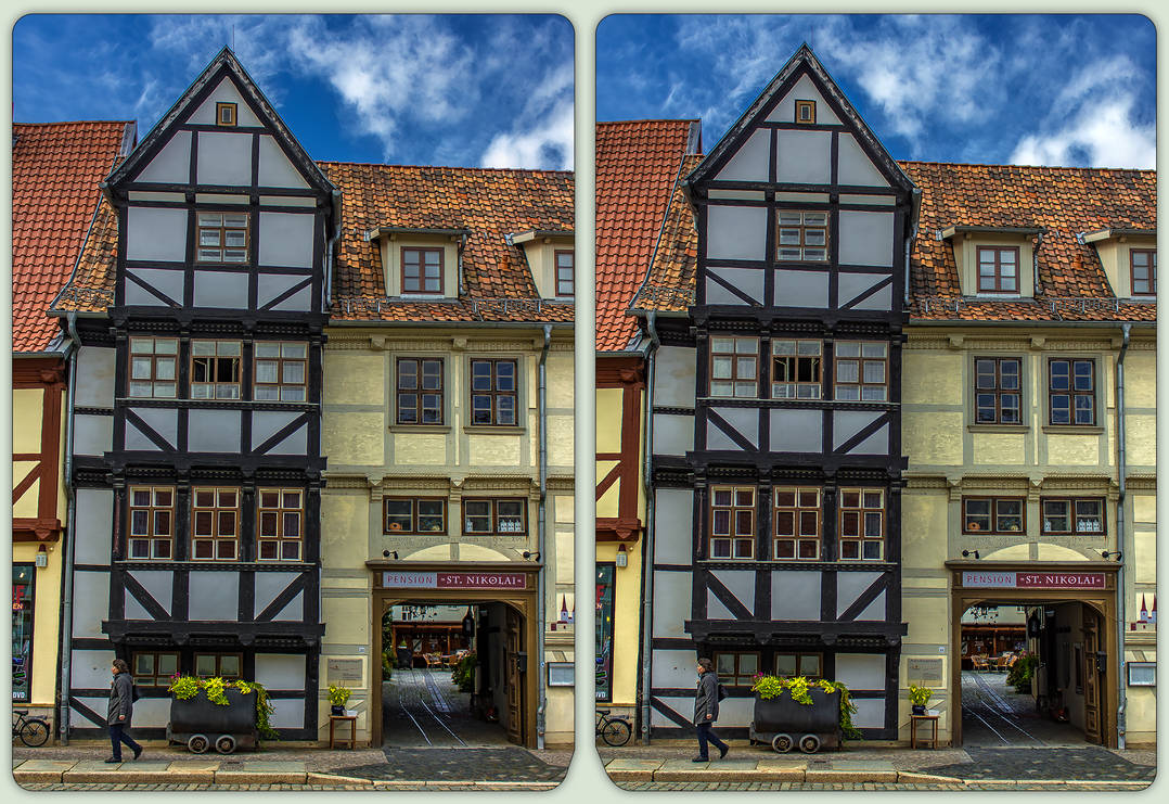 Timbering of Quedlinburg 3-D / CrossView / Stereo by zour