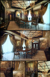 Classical Dinning Hall by kulayan3d