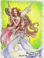 Aeris and Belldandy by Little-Endian
