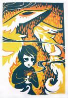 Woodblock Print - Cadenza by Jeekins