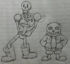 Sans and Papyrus (Skeleton Bros) by MetaKnuxX8