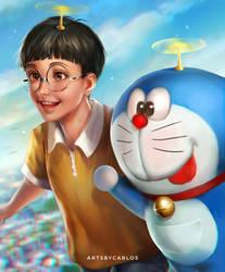 Nobita and Doraemon by artsbycarlos
