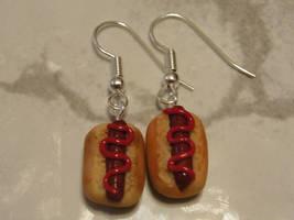 Polymer Clay Hot Dog Earrings by LiviaZita