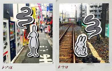 Tokyo Rabbits Diptych by Lorenmakesart
