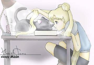 Sailor Moon. sleepy Moon. Luna. by Hiroshitomochan
