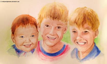 Commission: Grandchildren Watercolor by hollystarlightanime