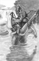 Storm and Black Panther Pencils by lilwassu