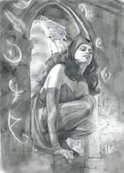 Scarlet Witch Sketch by lilwassu
