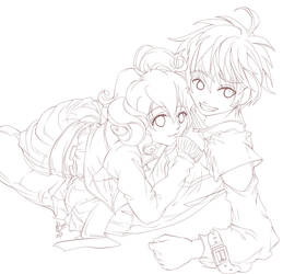 Wendy and Doodlez Collab Lineart by darthmer-mer
