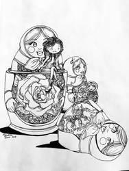 Inktober #1 - Nesting Dolls by darthmer-mer