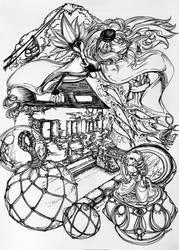inktober 6 - Tribute to All Things Otaru by darthmer-mer
