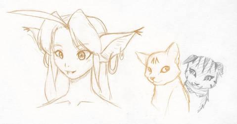 SketchADay 007 Yuki Cats by freelancemanga