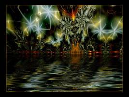 fireworks reflection beauty by swinck