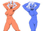[Commission] Red and Blue Oni (nude ver.) by DeadSlot4