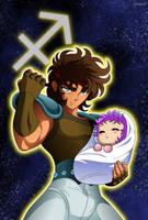 Sagittarius no Aioros and Athena (Baby) by Huramechi