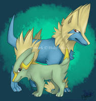 Electrike and Manectric by Bear-hybrid