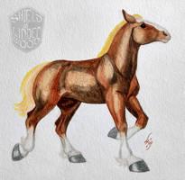 Belgian Horse in Watercolor by LiHy