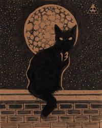 A black cat named Thirteen by horizonred