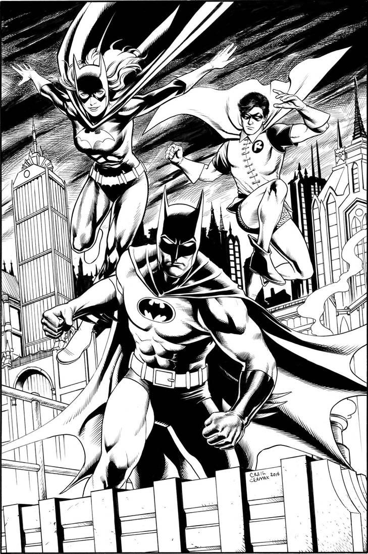 70's-era Batman, Batgirl, and Robin by craigcermak