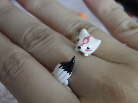 Amaterasu Okami Polymer Clay Ring by sanxcharms
