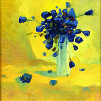 Still life with blue flowers by morda-creap