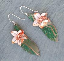 bird orchid earrings by thebluekraken
