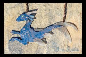 blue and white sea dragon by thebluekraken