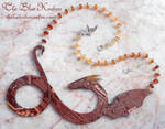red circuit dragon necklace by thebluekraken