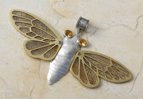 silver cicada with circuit by thebluekraken