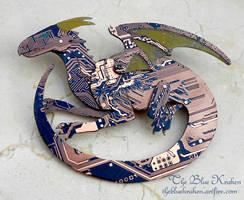 blue dragon brooch - circuit by thebluekraken