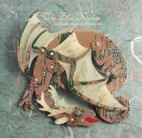 horned circuit dragon brooch by thebluekraken