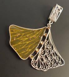 Filigree ginkgo leaf pendant by thebluekraken