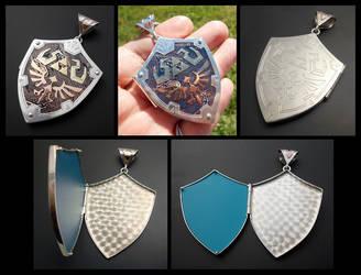 Zelda Hylian Shield Locket - skyward sword by thebluekraken