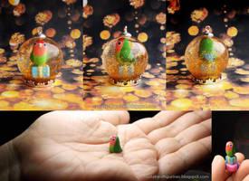 For Sale: Peach-face lovebird snow globe pendant by emmil