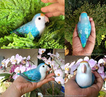 Blue lovebird real size clay sculpture by emmil