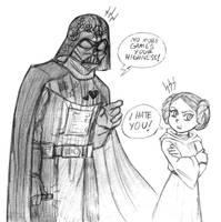 Dad Vader and Princess Leia - Sketch by KatyTorres