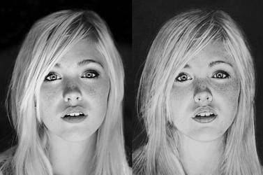 Photo vs Drawing - Devon Jade by PMucks