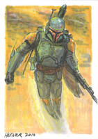 Boba Fett Flying - Sketch ACEO by HalHefnerART