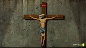 Camera Head on Jesus Crucifix Still from Animation by HalHefnerART