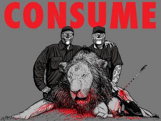 CECIL THE LION and WALTER PALMER - CONSUME by HalHefnerART