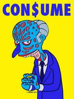 Montgomery Burns Simpsons THEY LIVE mashup CONSUME by HalHefnerART