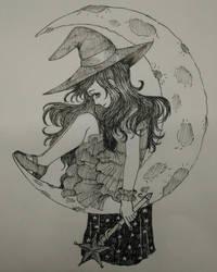 Inktober day 24: Lunar Witch by Yunio138