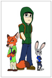 Sam, Judy Hopps and Nick Wilde  by DisneyJared23