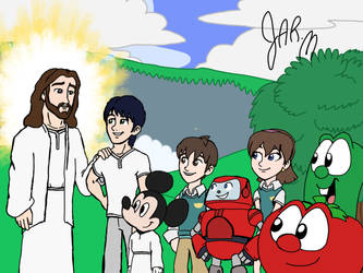 JMan Mickey Mouse and Christian Carton meets Jesus by DisneyJared23