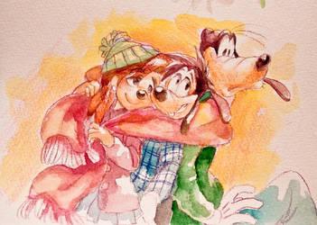 Max Roxanne and Goofy by Natsu-Nori