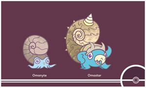 Pokemon #138-139 by Cosmopoliturtle