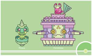 Pokemon #204-205 by Cosmopoliturtle